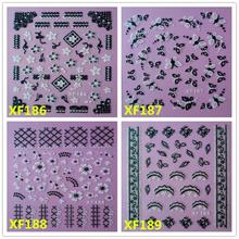 black 3D DIY flower design Water Transfer Nails Art Sticker decals lady women manicure tools Nail Wraps Decals XF194