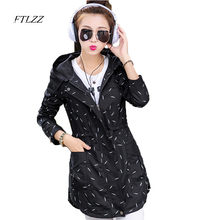 New Autumn Women Slim Medium Long  Jackets Women Long Sleeve Thin Hoodies Women Coat Plus Size 3XL Prin Coat