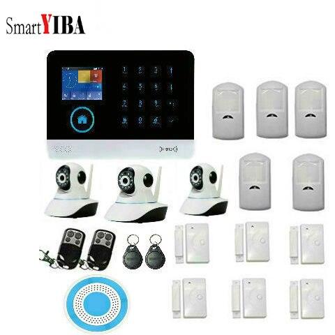 SmartYIBA WIFI/GSM/GPRS Sans Fil Caméra De Sécurité À Domicile Système D'alarme EN GE RU SP Détecteur Sans Fil IP Caméra Système D'alarme