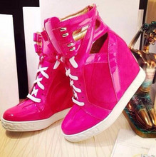 Hot Pink Patent Leather Straps Women Lace Up Casual Shoes Mixed Khaki Suede Ladies Vulcanize Fashion Cut Out