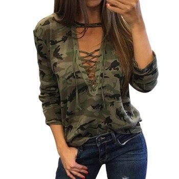Bandage Camouflage T Shirt Women