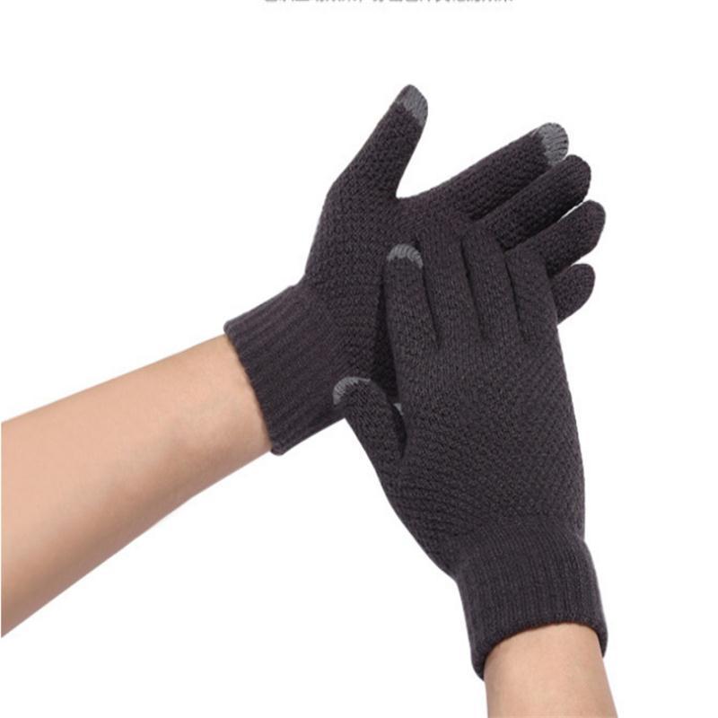 Autumn Winter Men's Warm Gloves Touchscreen Gloves Knitting Mittens Cashmere Woolen Mitten Ridding Gloves Gants Femme