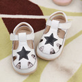 2016 Spring Summer New Boys Girls Beach Shoes Leather Shoes Fashionable Shoe Baby Todder Sandals Stars Hollow T-strap Kids