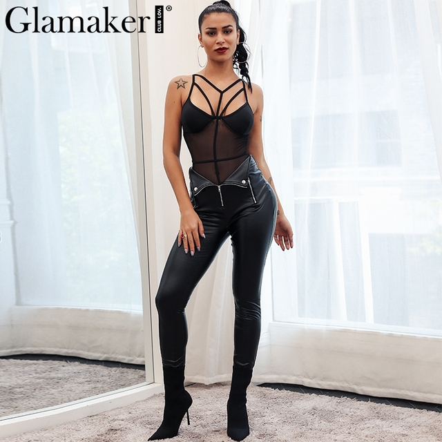 Glamaker Zipper black leather suede women pants Sexy PU skinny bodycon casual pants summer pencil skinny pants trousers bottom