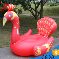 1.9m pvc red peacock inflatable water float rider Summer Lake Swimming Water Lounge Pool float swan float blue peacock float