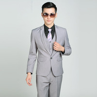 Single pale grey men's suit of new fund of 2019 autumn suit business second wedding garments (coat and pants)
