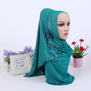 Image 3 - Fashion One Piece Muslim Shimmer Flower HIJAB One Round Instant HAT (new colors stock now.notice flower pattern random)