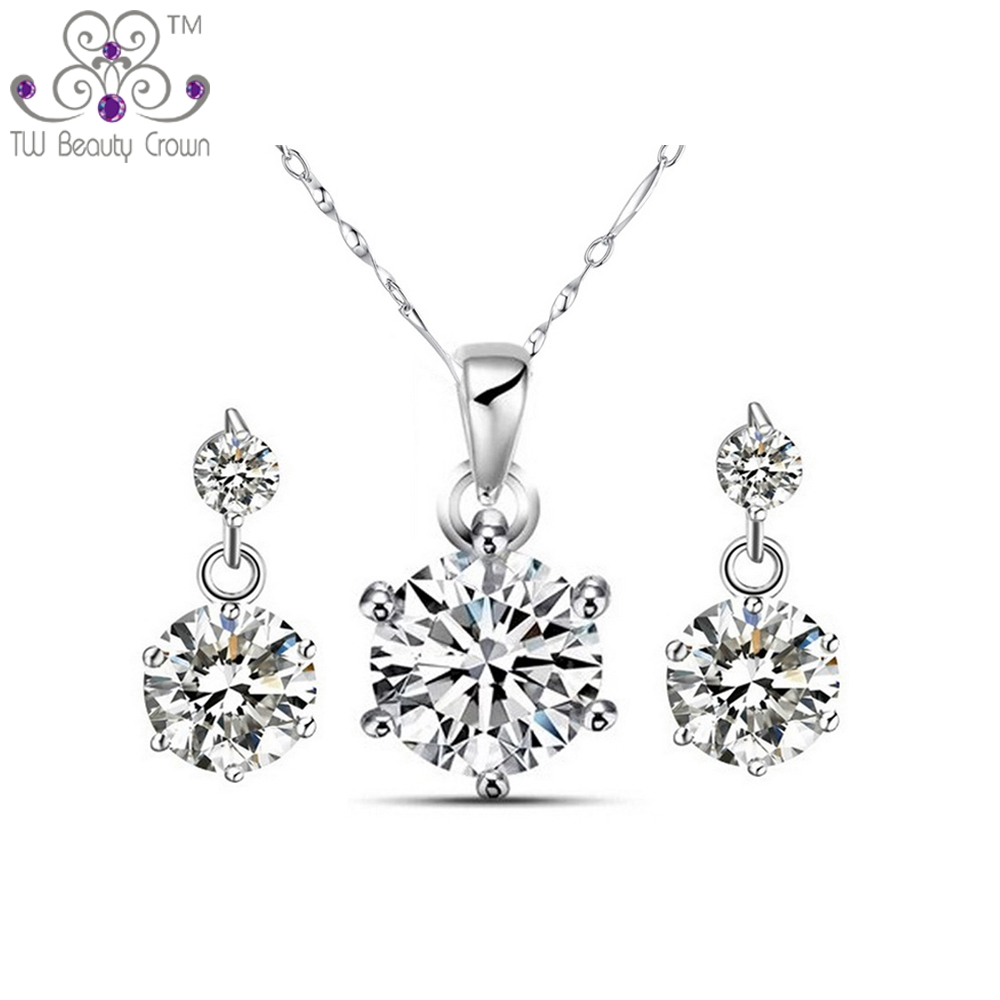 76b0e01884 1 Set Real 925 Pure Sterling Silver 0.75 Carat White Cubic Zirconia  Necklace Earrings Bridal Jewelry Sets For Women Female