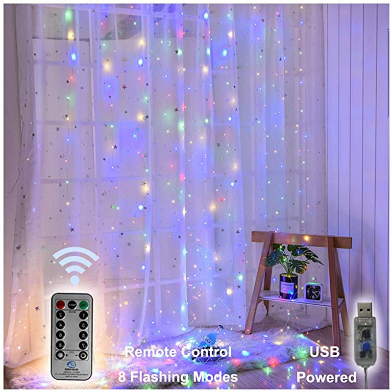 300 LED Curtains Copper Wire Light String Fairy Garland Curtain USB String Lights Christmas Wedding Party Holiday Decoration