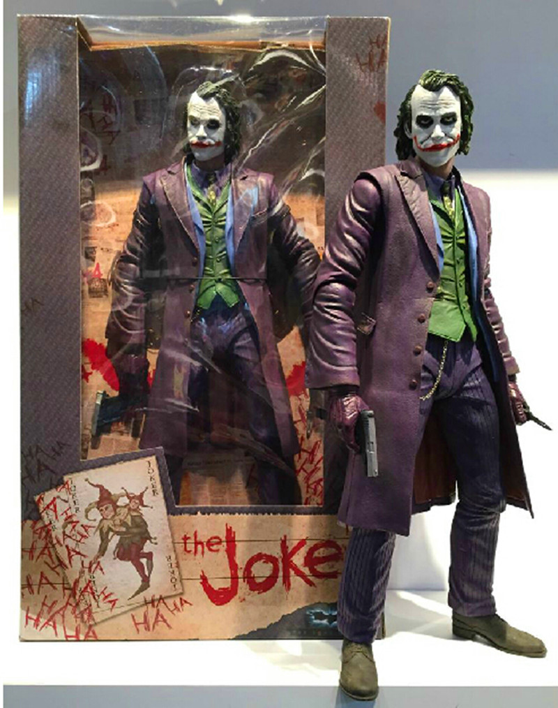NECA Batman The Dark Knight The Joker 1/4 Scale PVC Action Figure Collectible Toy 16 48CM RETAIL BOX EMS Free Shipping WU633 neca dc comics batman superman the joker pvc action figure collectible toy 7 18cm