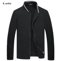 E-אמן דק צווארון דוכן סתיו האביב של גברים חולצות זכר Slim Fit שרוול ארוך מעילים קצרים מזדמן בתוספת גודל W05