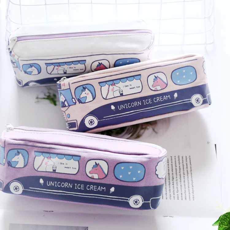 Unicorn Bus Student Canvas Large Capacity Pencil Bag Stationery Storage Organizer Pencil Case School Supply