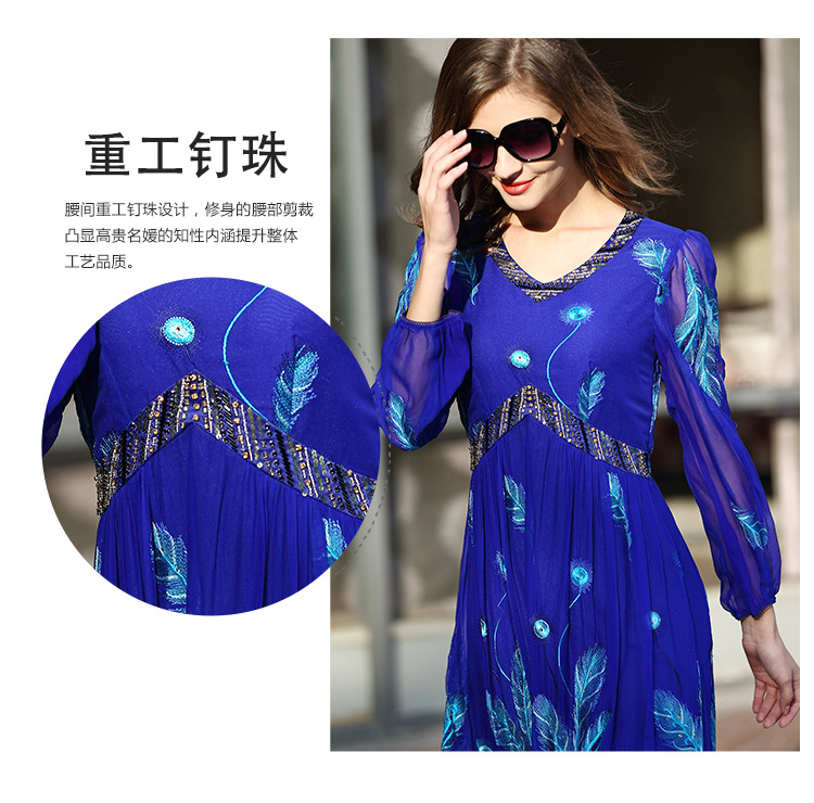Nobility Real Silk Dresses For Female Embroidery Plus size Silm style Long silk Dress For women 2018 Spring Summer in Dresses from Women 39 s Clothing