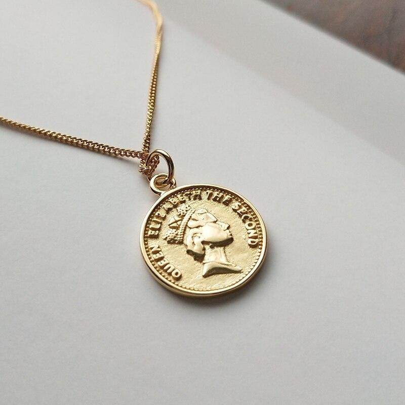 Sterling 925 Silber Dollar Anhänger Halskette Gold Farbe Runde Mode