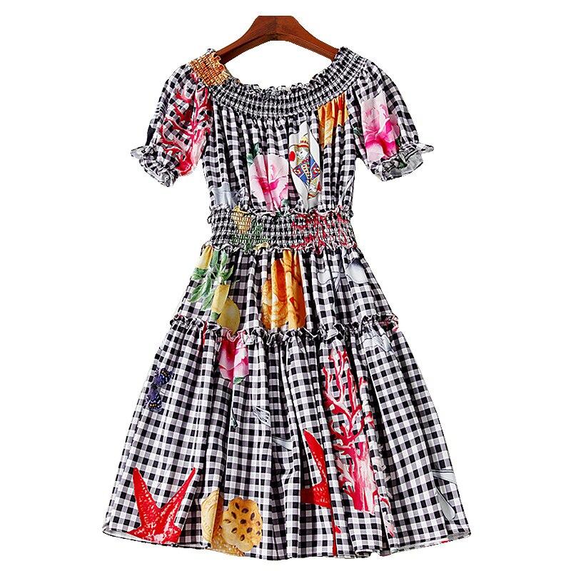 XF 2018 haute qualité créateur de mode été bohème femmes col épaule Sexy Poker Roses Plaid imprimé Slim robe