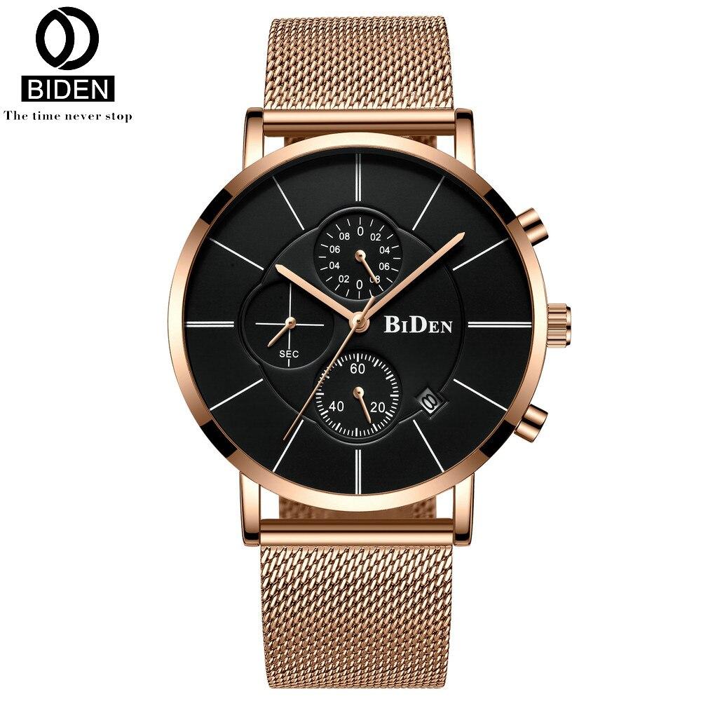 BIDEN Mens Watches Top Brand Luxury Gold Quartz Men Watch Drop Shipping Mesh Strap Casual Sport Male Relogio Masculino 2020 New