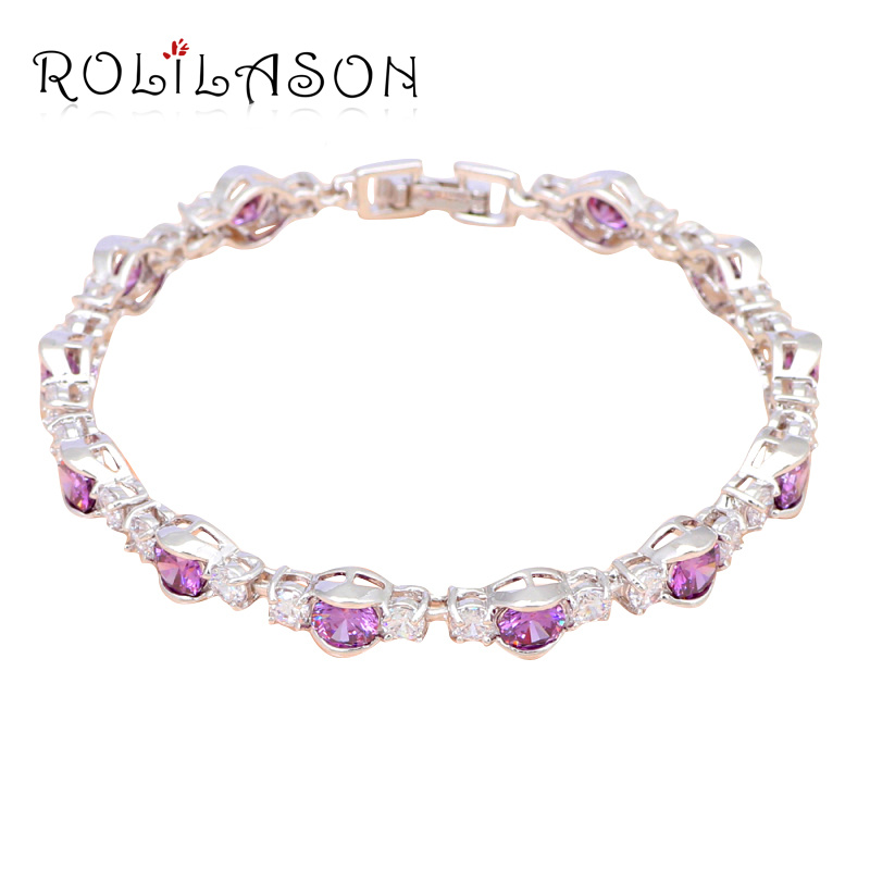 Elegant Crystal Jewelry Anniversary Gifts Purple Zirconia Silver plated Charm Bracelets Fashion jewelry TBS977
