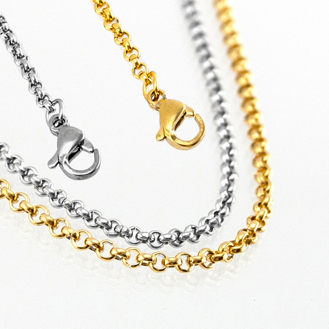 Women 2mm thin Stainless steel Rolo O Chain necklace steel gold color Floating Locket necklace