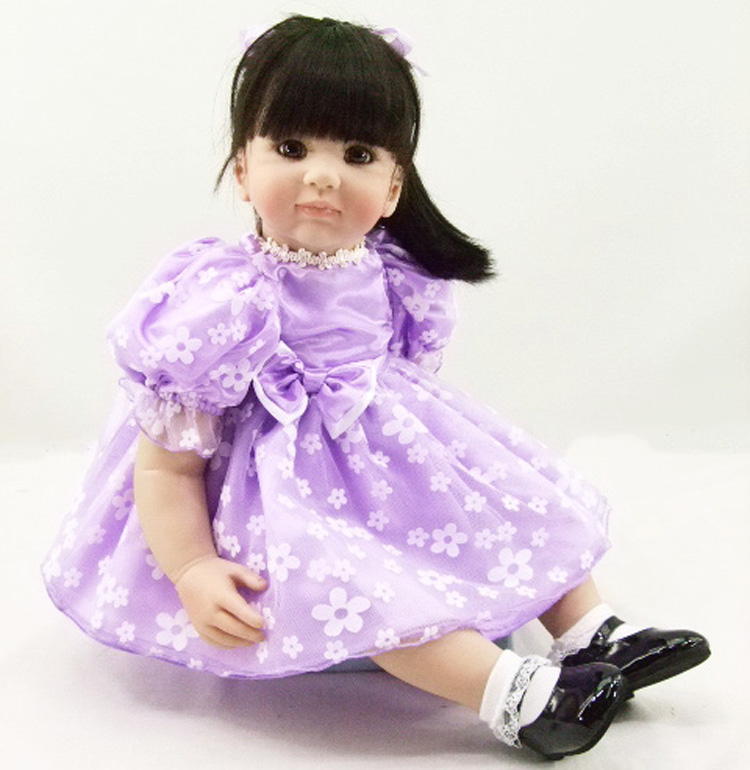 Pursue 24/60 cm Purple Dress Soft Vinyl Silicone Reborn Princess Girl Baby Doll Toys for Children Girls Bedtime Birthday Gift pursue 24 60 cm new silicone vinyl reborn baby toddler doll toys for boy girl birthday christmas gift educational bedtime toys