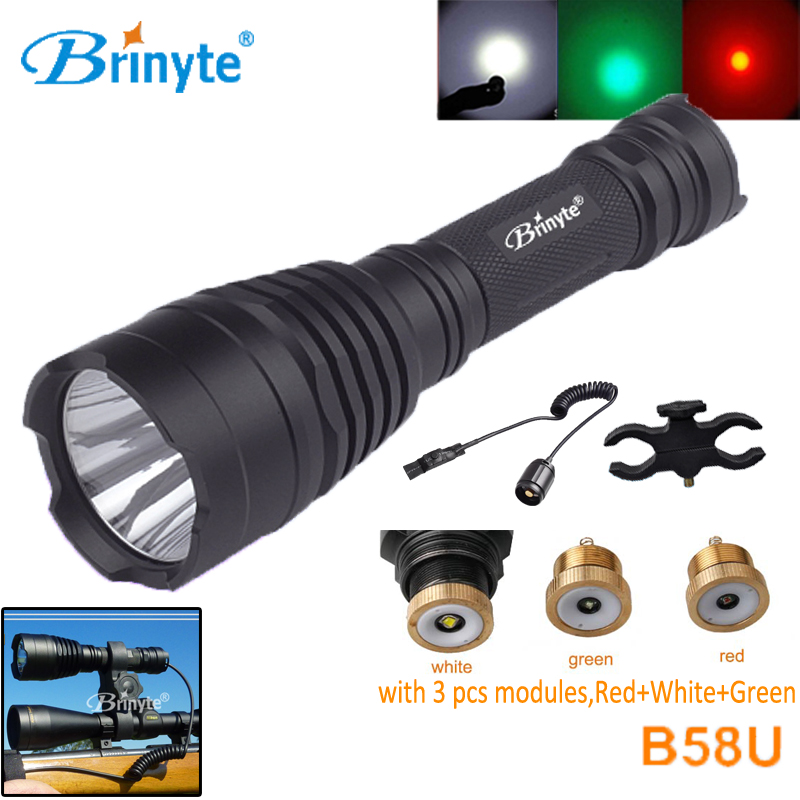 Brinyte B58U Best Cree XM-L2 3 Colors Beam LED Hunting Flashlight Torch with RED GREEN WHITE Module Remote Switch and Gun Mount 3800 lumens cree xm l t6 5 modes led tactical flashlight torch waterproof lamp torch hunting flash light lantern for camping z93