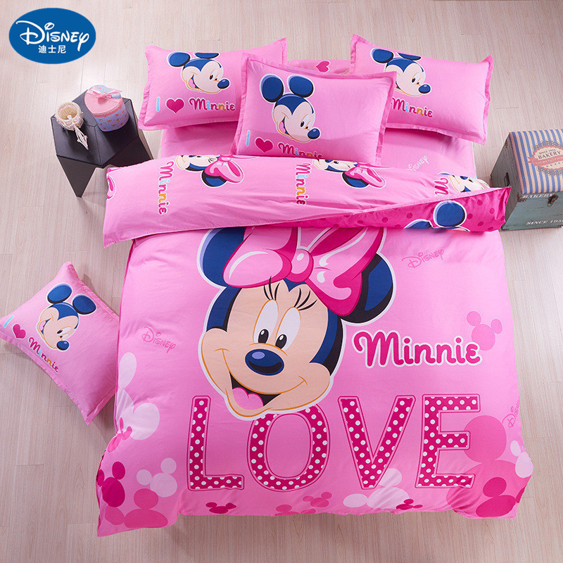 US $7.49 25% OFF|Minnie mouse Bedding Set Cover pillowcase quilt mickey  mouse cartoon Children bedclothes bed set Disney Home textile-in Bedding  Sets ...