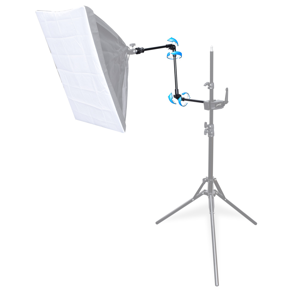 """3-Section 360 Degree Adjustable Articulated Articulating Boom Arm W/ 1/4"""" 3/8"""" Thread For Photography Flash Light"""
