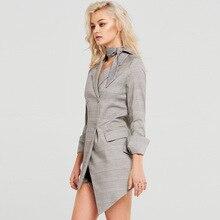 European American Fashion Simple Commuter Retro Striped Irregular Hem Medium and Long Casual Suit 2019 Women Coat and Jackets