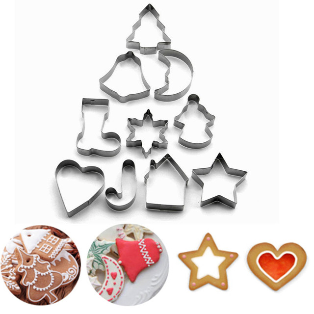 10 Pcs Christmas Cookies Cutter Biscuit Cookies Mould Set Fondant Cake Decorating Tools Stainless Steel Christmas Decoration