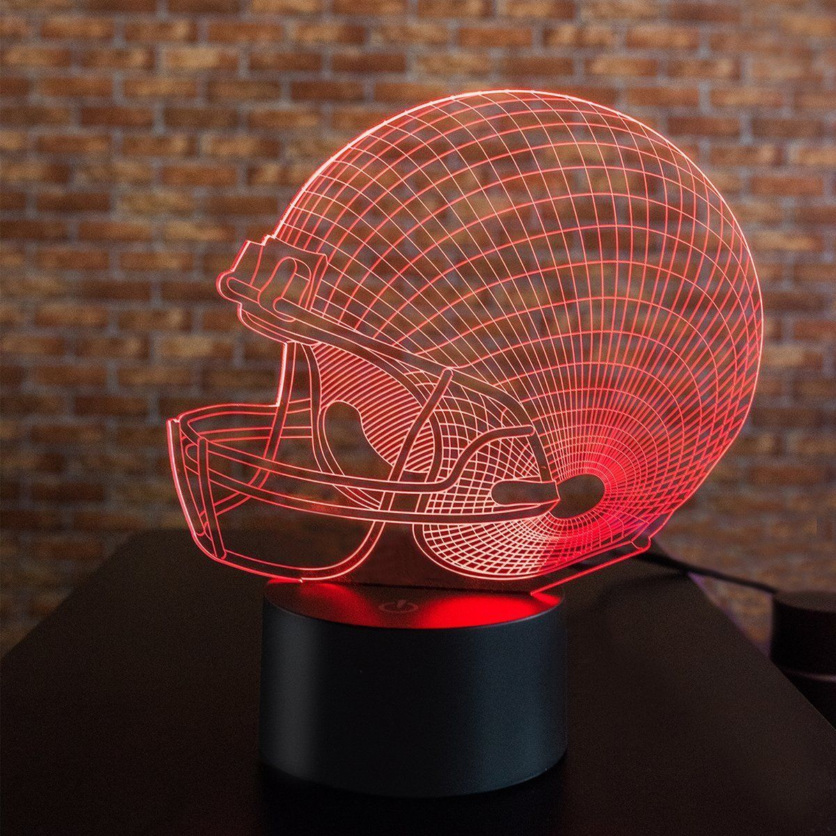 Illusion Led Night Light For Boys Men 3D Illusion Lamp Football Helmet 7 Colors Room