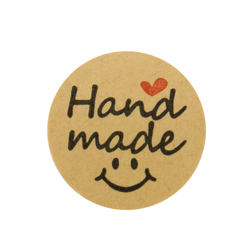 Купить с кэшбэком 500pcs Round Natural Kraft handmade Stickers with love seal Labels cute sticker for Cake Packaging labels sticker stationery