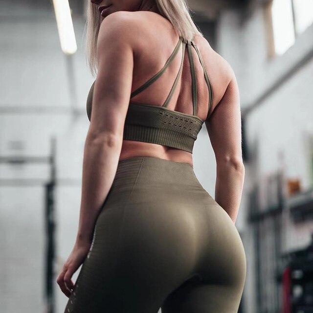 2PCS Yoga Set Strappy Bra Seamless Leggings Women Gym Fitness Clothing High Waist Yoga Leggings Set Running Sportswear Tracksuit 3
