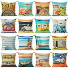 New Arrive Retro Bus Cushion Cover Decorative Sofa Throw Pillow Car Chair Home Decor Pillow Case almofadas shabby chic car decorative cushion cover retro truck mini bus game chair pillow cover 45cm pillow case home decor sofa bedding