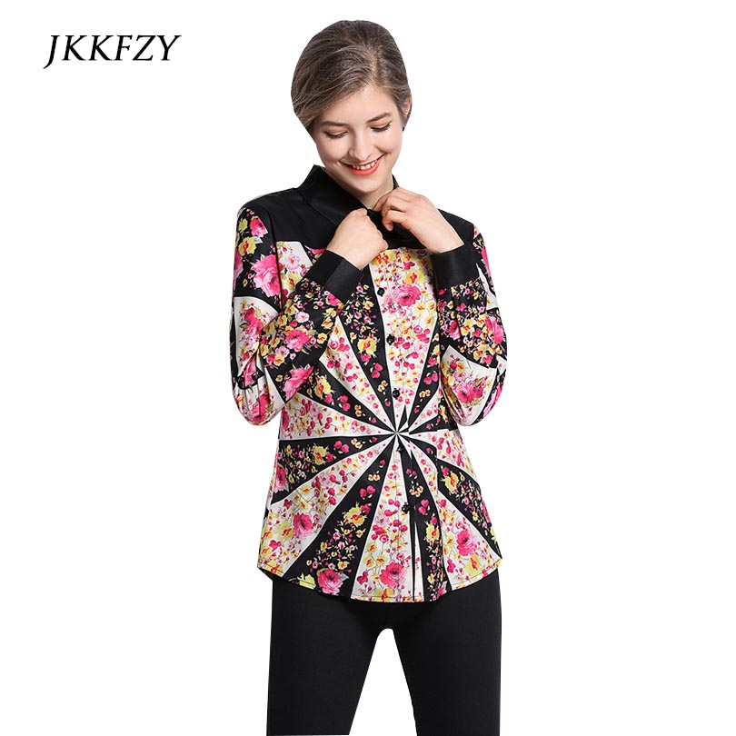 Fashion Women Blouse Runway Flora Print Elegant Office Shirts Ladies Work Long Sleeve Top High Quality Female Clothes