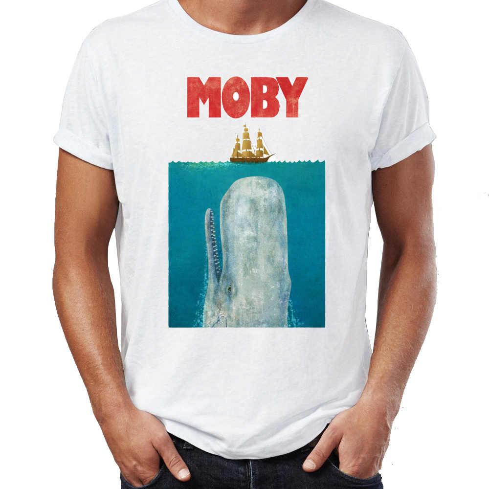 Maglietta degli uomini di Moby Dick Ganasce Poster Mashup Impressionante Artwork Stampato Tee
