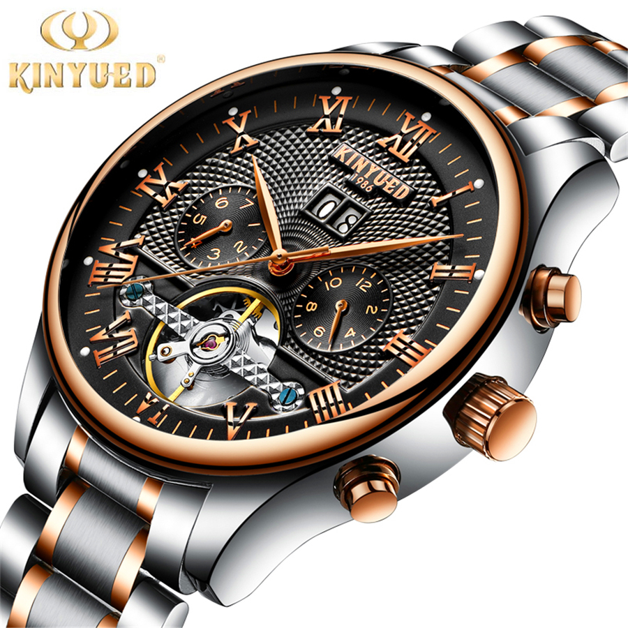 2017 KINYUED Men Black Rose gold Watches Automatic Mechanical Watch Male Skeleton Wristwatch Stainless Steel Band Luxury Brand hollow brand luxury binger wristwatch gold stainless steel casual personality trend automatic watch men orologi hot sale watches