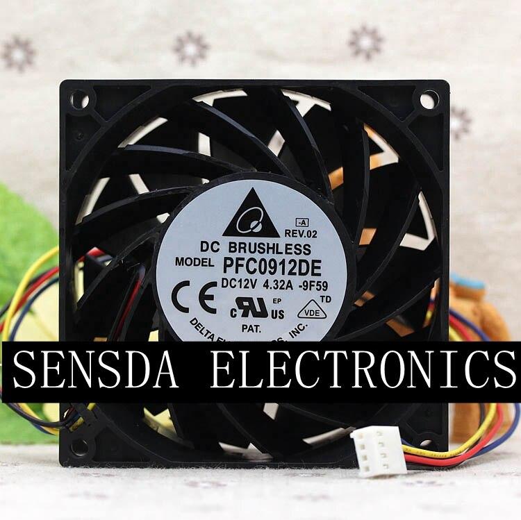 IP68 waterproof cooling fan Delta PFC0912DE 9238 12V 3 72A 200CFM 8100RPM powerful fan