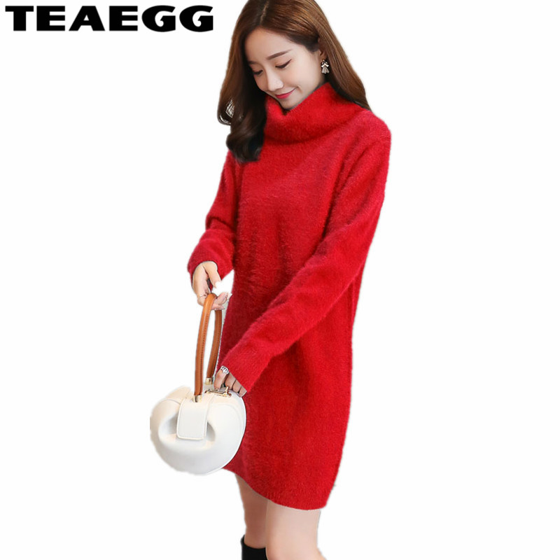 TEAEGG Woman Spring Dress 2018 Red Dress Turtleneck Long Sleeve Women Sweater Dress Sweaters and Pullovers Dresses Lady AL806