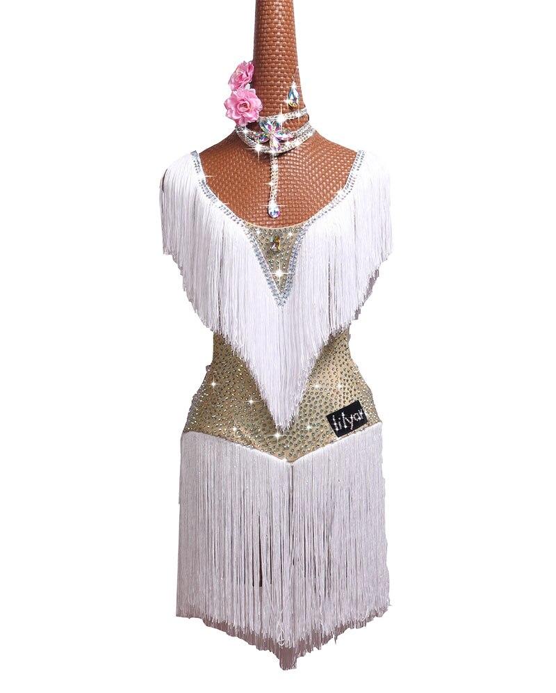 Dhl frete grátis dança latina traje branco franja strass vestido de dança latina para as mulheres latina dança competição vestidos