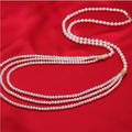 Luxury style AAA Perfectly Freshwater Pearl Three Long Necklace Nearl Round Real Pearl necklace Wedding Jewelry Fine Jewelry
