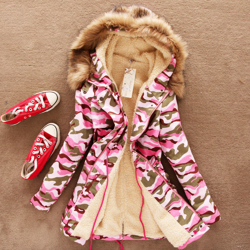 2013 new winter long thick velvet padded straps fur collar coat womens camouflage hooded jacket free shipping H1792