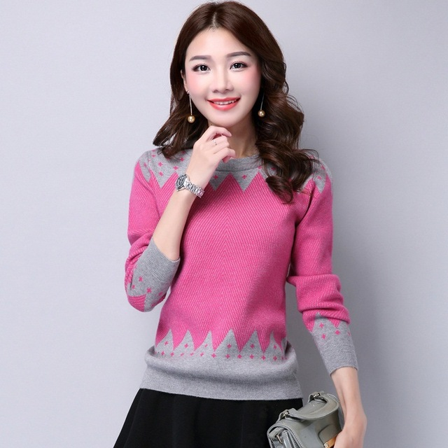 2017 Korean Fashion Autumn Winter Knitted Women Sweaters and Pullovers Casual Cute Crew Neck Long Sleeve Pull Femme Sueter Mujer