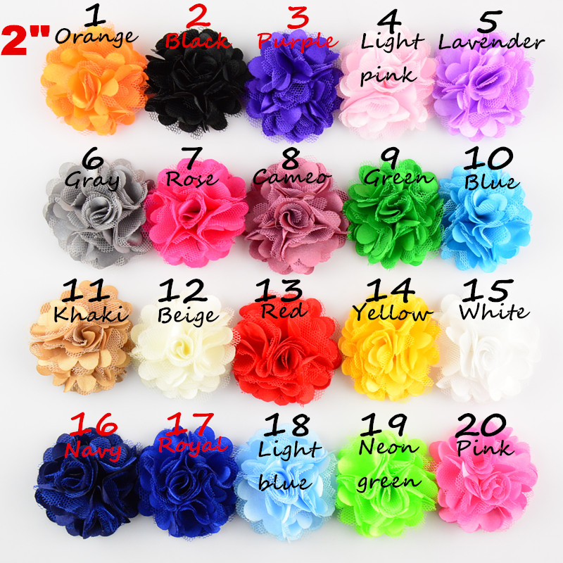 30pcs/lot 20 Color U Pick 2 Inch Mini Satin Mesh Puff Rose Flower DIY Supplies Headbands Hair Accessories TH54 цена
