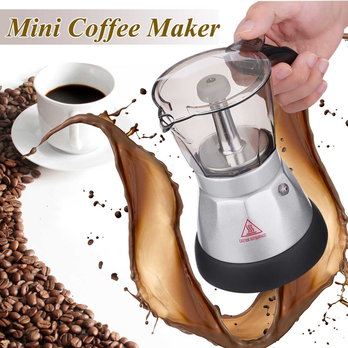150-200ml Coffee Machine Automatic Portable Electric Coffee Maker Stainless Steel Espresso Mocha Coffee Pot Home Kitchen Tools