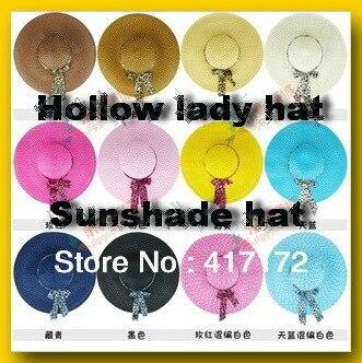 10 шт./лот! женщина полые пляж шляпу солнце шлем зонтик крышки удобный скидка 35% несколько вариантов цвета большой брим шляпы