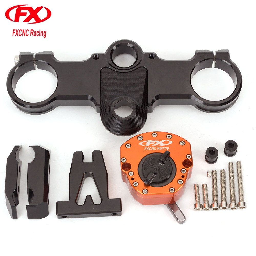 For KTM RC250 RC390 All Years CNC Aluminum Motorcycle Steering Stabilize Damper Bracket Mount Mounting Holder Kit Set FXNC adjustable steering stabilize damper bracket mount kit for honda cbr1000 2008 2014 t6061 t6 aluminum a set cnc fxcnc gold