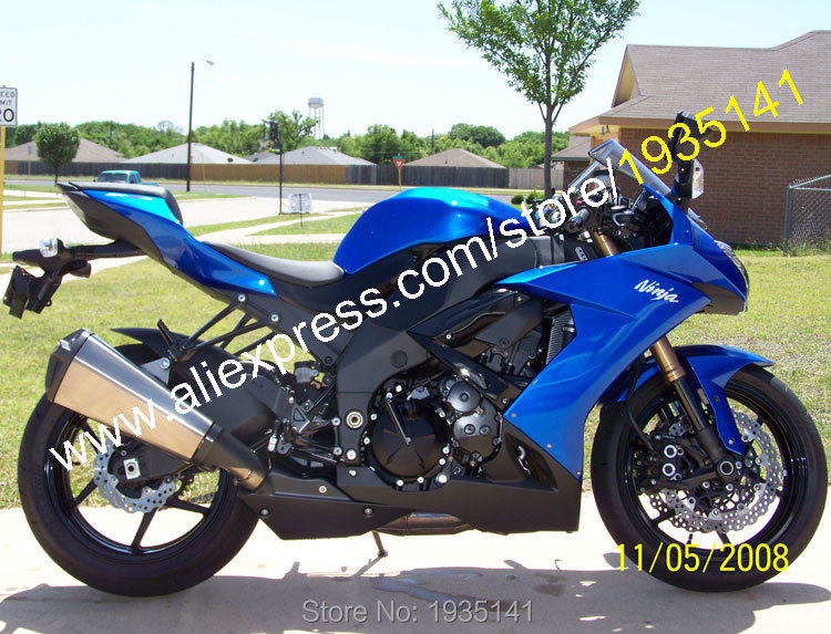 Hot Sales,For Kawasaki Fairing ZX10R 2008 2009 2010 Ninja ZX-10R 08-10 ZX 10R Blue Black Motorcycle Fairing (Injection molding) the new motorcycle bike 2006 2007 2008 2009 2010 2011 kawasaki zx 10r zx10r zx 10r knife brake clutch levers cnc