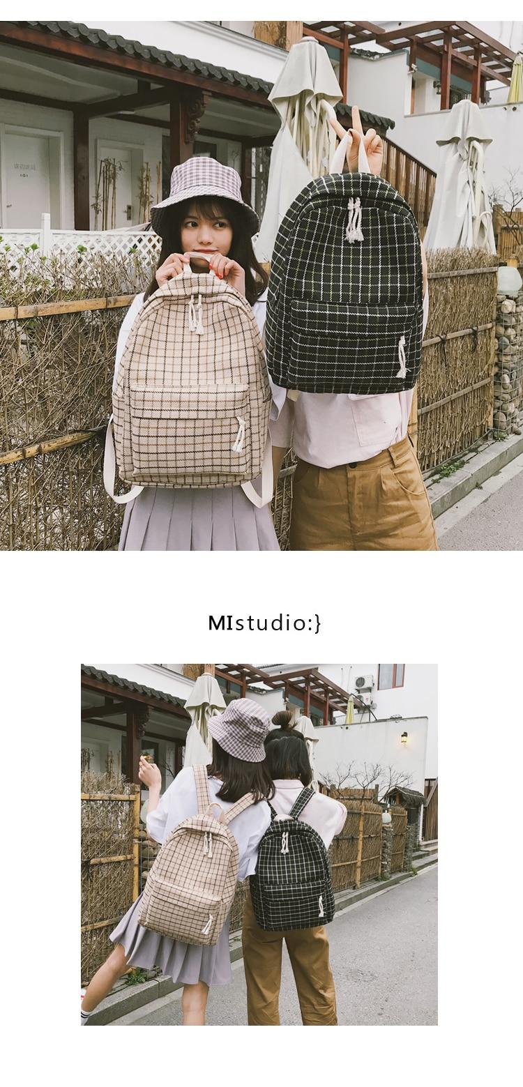 HTB1jFQlaEGF3KVjSZFmq6zqPXXa5 2 Pieces Japan style Plaid Style Women Backpack Pencil Case Student Girl School Bag Travel Shoulder Bag For Women 2019 Bagpack