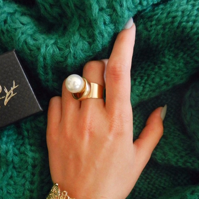 eManco Горячие моды Минималистские Геометрическая Заявление Манжеты кольца для женщин Большой Pearl Copper Позолоченный ювелирный бренд