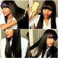 Длинные прямые человеческие волос с челками для чернокожих женщин парики Brazilain девственница волосы прямые человеческие волосы фронта парики