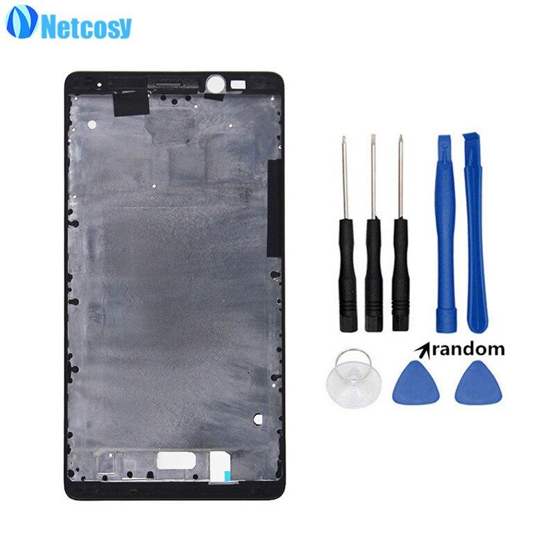 Netcosy Noir Avant LCD Couverture de Logement Moyen Façade Cadre Lunette cas remplacer Pour Huawei Ascend Compagnon 8 MT8 LCD case & Outils